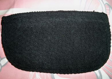 Vintage 1940s Black Crocheted Clutch Purse WWII Era Handbag