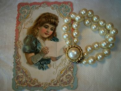 Vintage Carolee Double Strand Simulated Pearl Bead Bracelet Baroque Style
