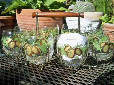 Vintage Coconut Palm Trees Tropical Glassware Carrier Mid Century Modern