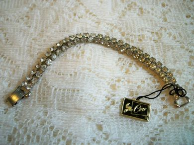 Vintage 1950s Coro Pegasus Rhinestone Bracelet Mint with Tag in Box