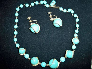 Vintage Jewelry Eames Era Atomic Age 1950's Turquoise Necklace Earrings Set