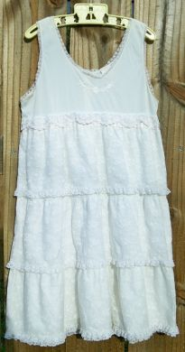 Vintage Girls Antique White Lacy Dress Size 10