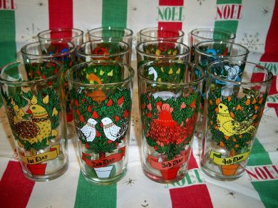 Vintage Twelve Days of Christmas Glassware